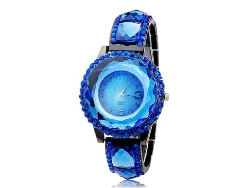 Onceall Sg1155 Round Dial Analog Display Quartz Movement Stylish Watch With Alloy & Crystal Decorated Case And Strap (Blue) M.