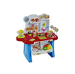 Shopaholic Battery Operated 34 Pcs Kids Mini Market Supermarket Play Set- 668-23