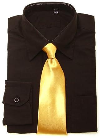Boys black shirt gold tie clothing for Black shirt black tie