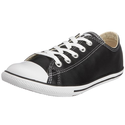 Converse Slim Chuck Taylor Low Top Shoes In Black Leather (113937), Size: 10 Mens / 12 Womens