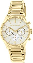 MICHAEL KORS WOMENS STAINLESS STEEL YELLOW GOLD CHRONO DATE WATCH MK5986