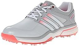 adidas Women\'s W Adipower Boost Golf Shoe, Clear Grey/Running White/Flash Red, 9.5 M US