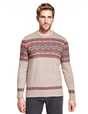 Blue Harbour Lambswool Rich Crew Neck Fair Isle Jumper