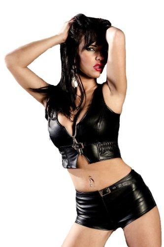 Knappe Shorts Hotpants in sexy Leder Optik Kunstleder Fetisch schwarz S von Soleil