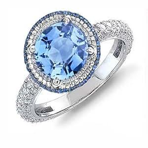 1159ct blue diamond topaz diamond engagement ring 14k