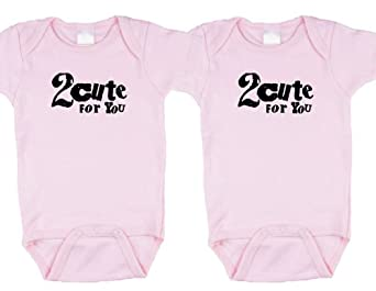Twin Girls Gift Set (Includes 2 pink Bodysuits - 2 Cute 4 You, size 0-3 mo)