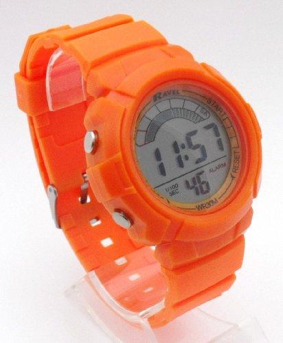 Ladies Digital LCD Chronograph Sports Watch - Gift Boxed - Multi Functional- 15-22cm Strap - 3ATM - Orange
