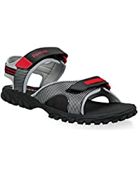 Reebok Men's Adventure Chrome Lp Black, Ex.Red And Silver Mesh Sandal And Floaters