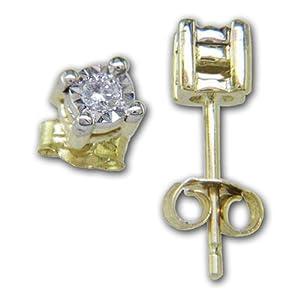 Posh Diamonds Brillant Ohrstecker in 585 Gelbgold mit 2 Brillanten 0.06ct in Weißgold gefasst.