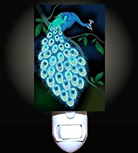 midnight peacock decorative night light home
