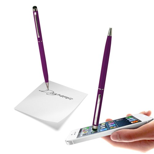 Dark Purple High Sensitive Capacitive Dual Function Touch & Write Stylus Pen For SAMSUNG GALAXY NOTE2/NOTE/S4/S3 S3/MINI/S2/S/NOTE3 Mobile Cellular Phone