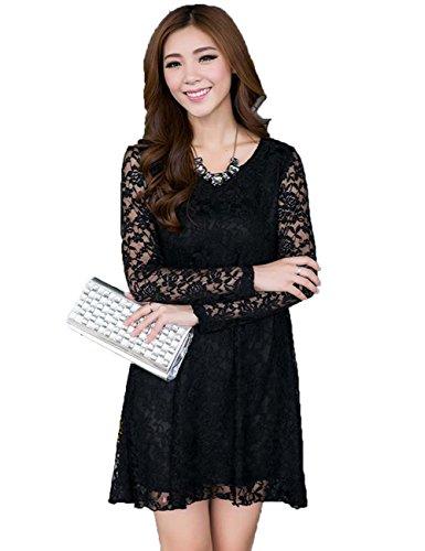 Fashion Women'S Autumn Plus Size Scoop Neck Long Sleeve Crochet Lace Dress (Xxxxl, Black)