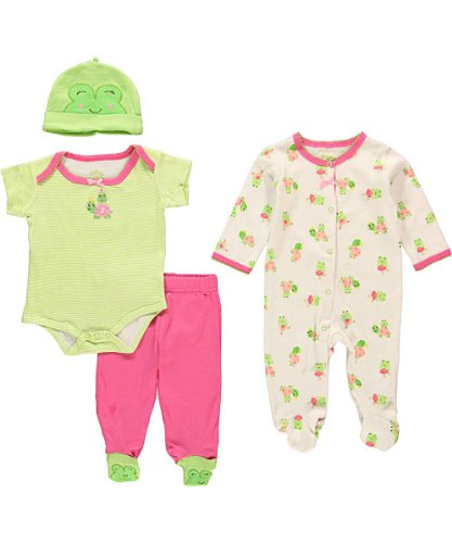 """Sesame Street Baby Girls' """"Turtle & Frog"""" 4-Piece Layette Set - Lime, 6 - 9 Months front-944087"""