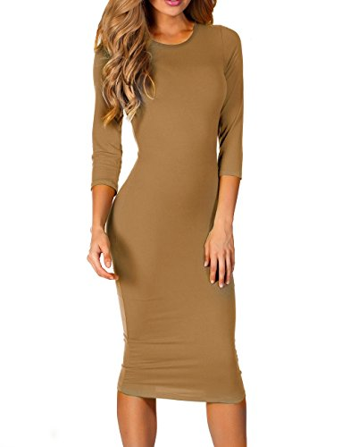ICONOFLASH 3/4 Sleeve Midi Bodycon Dress (Medium, Camel)