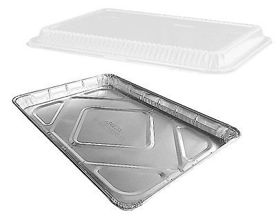 Handi-Foil Half 1/2 Size Sheet Cake Aluminum Foil Pan w/Clear Low Dome Lid (pack of 20)