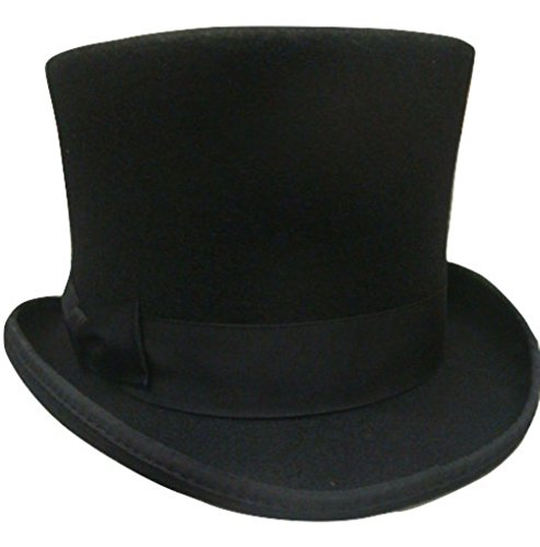 Black-Wool-Victorian-Top-Hat-Flared-Theatrical-Dickens-Costume-High-Quality-60cm