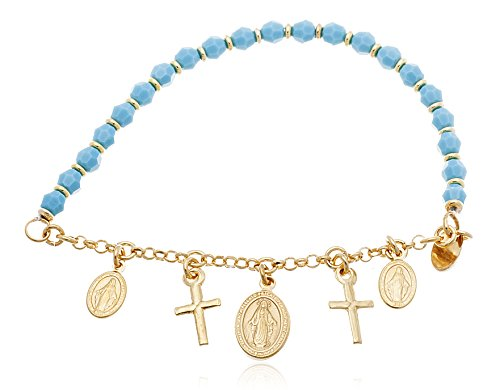 925 Sterling Silver Beaded Bracelet with Virgin Mary and Cross Charms