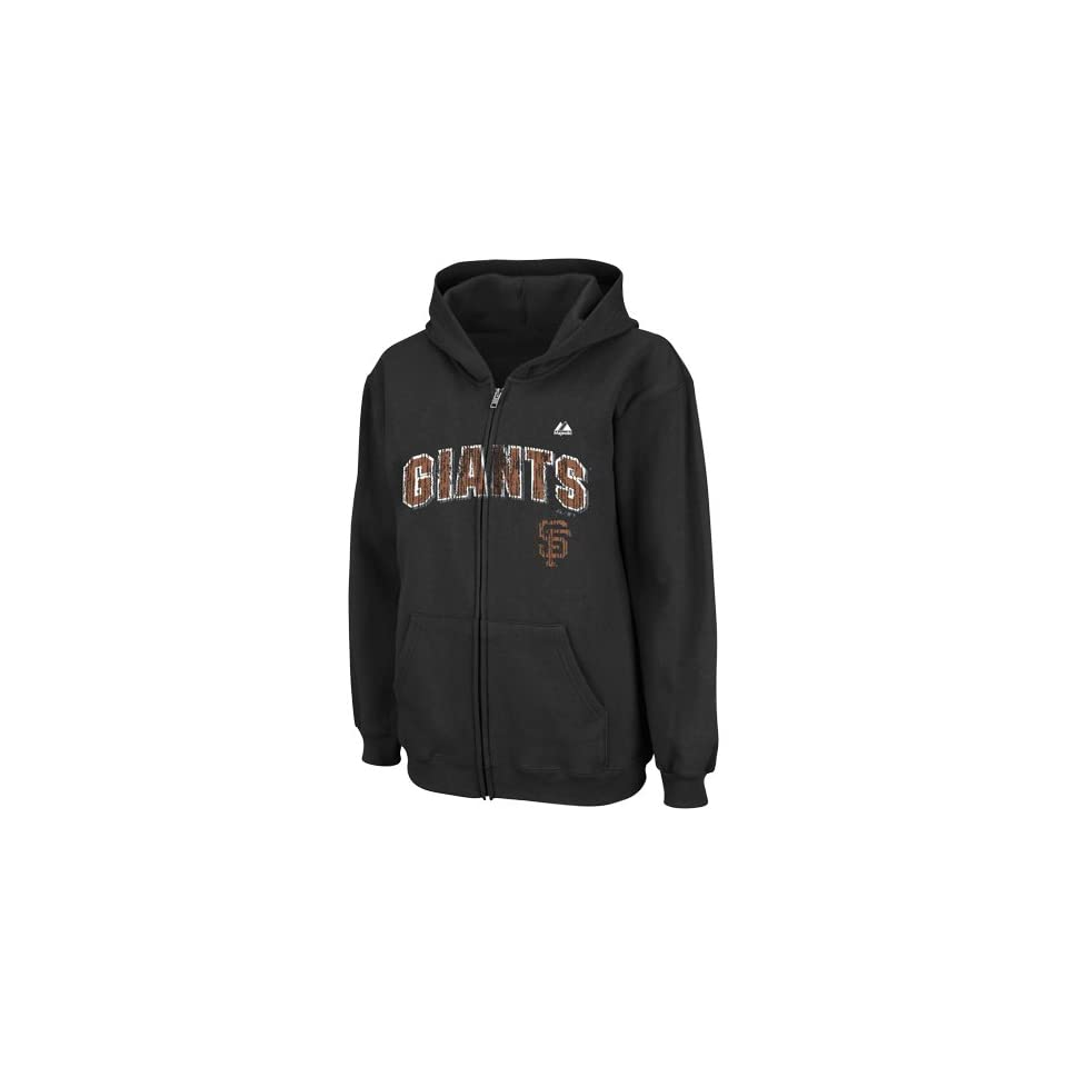 MLB Majestic San Francisco Giants Youth High and Tight Full Zip Hoodie   Black (Small)