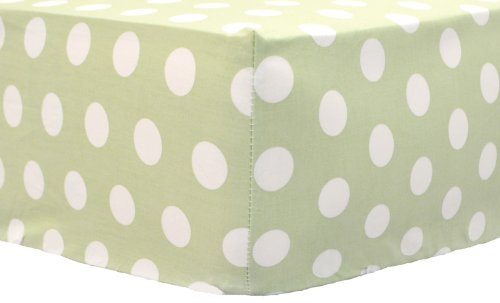 My Baby Sam Pixie Baby Polka Dot Crib Sheet, Green - 1