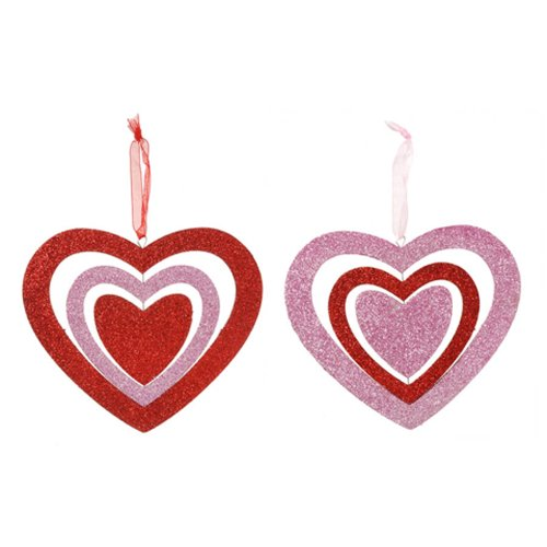 Valentine Heart Ornament – Turntable – Pink and Red Assorted – 2 styles – 5 inches, 2 Pieces