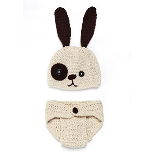 XMYM Newborn Cute Dog Handmade Crochet Knitted Unisex Baby Cap Outfit photo prop