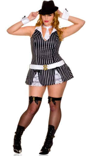 Music Legs Women's Plus Size Sexy Gangster Girl Costume