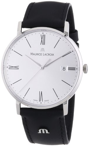 maurice-lacroix-mens-eliros-quartz-watch-with-silver-dial-analogue-display-and-black-leather-strap