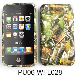 Apple iPhone 1G/2G/3G/3GS PU Skin, Camo/Camouflage Hunter Series w/ Green Leaves Silicone/Gel/Soft/Cover/Case
