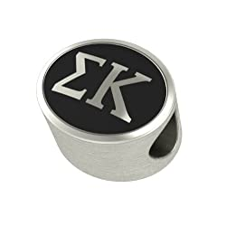 Sigma Kappa Black Antique Oval Sorority Bead Charm Fits Most Pandora Style Bracelets. High Quality Bead in Stock for Fast Shipping. Officially Licensed