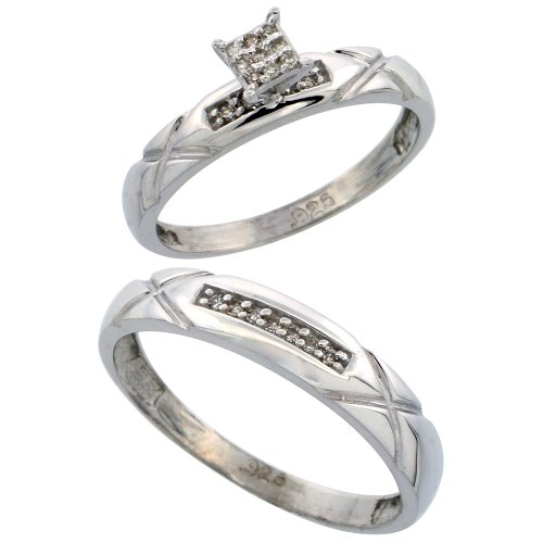Sterling Silver Diamond Engagement Rings Set for Men and Women 2-Piece 0.10 cttw Brilliant Cut, 4 mm & 3.5 mm wide, Size 7.5