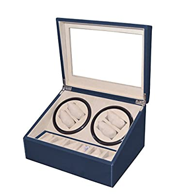 Brand New Navy Blue Leather 4+6 Automatic Rotation Quad Watch Winder 6 Jewelry Display Storage Box Case