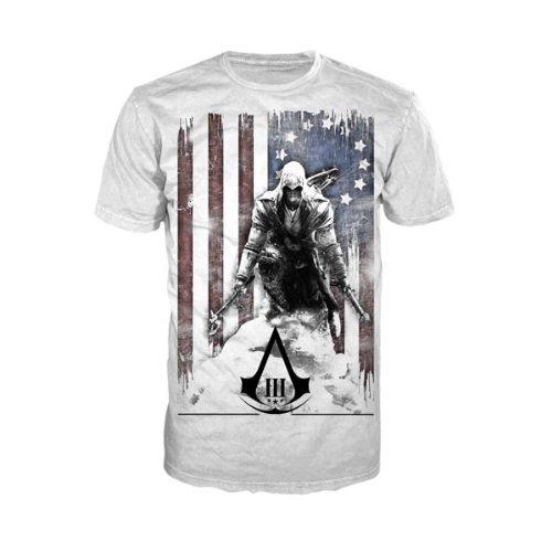 Bioworld Merchandising Assassin's Creed III Burned Flag Shirt - White - Medium