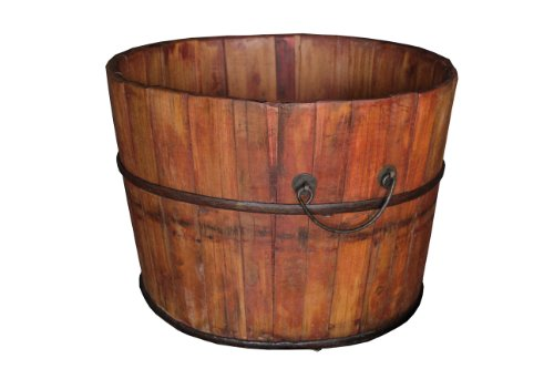 Antique Revival Gota Wooden Bucket, Natural 0