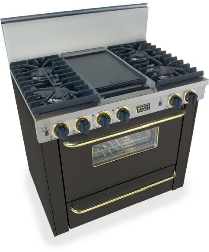 """36"""" Pro-Style Natural Gas Range With 4 Sealed Ultra High-Low Burners 3.69 Cu. Ft. Convection Oven Manual Clean And Double Sided Grill/Griddle Black With Brass"""