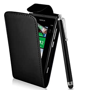 Supergets® Nokia Lumia 800 Black Top flip PU Leather case, Screen Protector , Touch Screen Stylus And Polishing Cloth