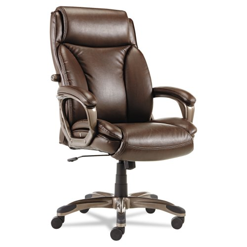 Alera Veon Series Executive High-Back Leather Chair with Coil Spring Cushioning, Brown