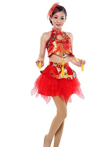 Chinese National Waist Drum and Fan Stage Dance Coustumes