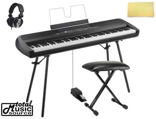 Korg Sp280Bk 88-Key Home Digital Piano With Stand & Pedal, Black, Tms Polishing Cloth, Bench Sp280
