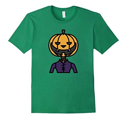 Men's Pumpkin Head Horror Scary Halloween Costume T-Shirt Medium Kelly Green (Face Painting For Skeleton Costume)