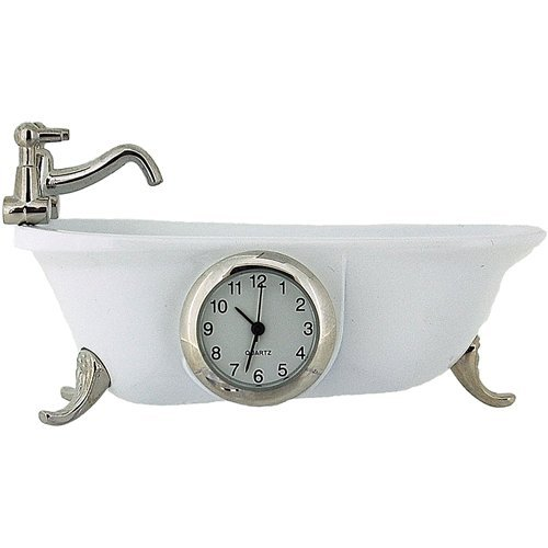 Miniature Vintage Bathtub White Quartz Movement Novelty Collectors Clock IMP1101