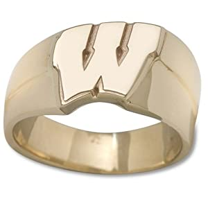Wisconsin Badgers New Motion W 1 2 Mens Ring (Size 10 1 2) - 14KT Gold Jewelry by Logo Art