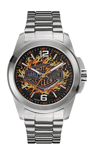 Harley Davidson Great Balls of Fire Men's Quartz Watch with Black Dial Analogue Display and Silver Stainless Steel Bracelet 76A147