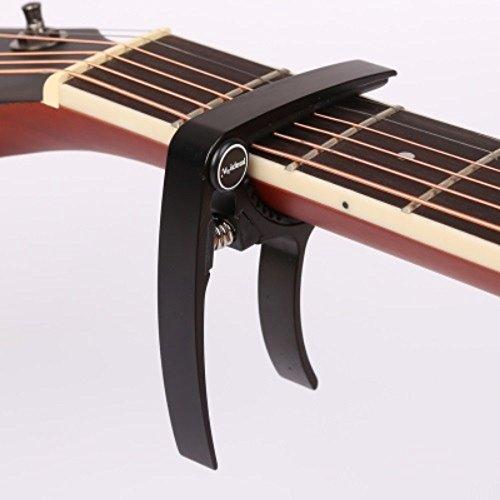 【全7色】 2015年 モデル ギター カポタスト Guitar Capo フォーク エレキ 用 0.58 mm 0.71 mm 0.81 mm ピック 各2個 クロス 付き (1. ブラック 黒)