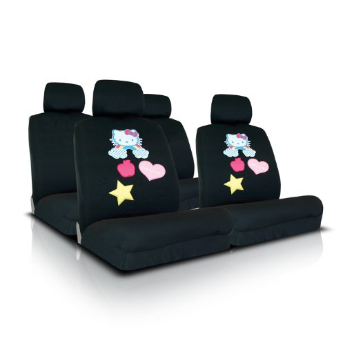 UNVERISAL FIT BLACK HELLO KITTY SEAT COVER FOR COMPACT CARS