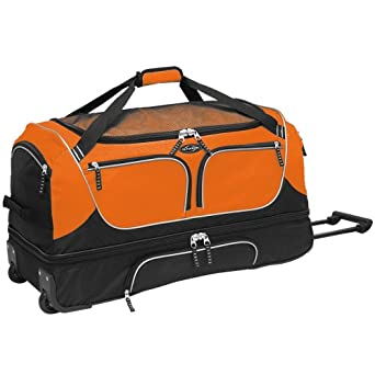 """30"""" Parkour Collection"""" 2-Section Drop-Bottom Rolling Duffel with Shoe Pocket  in Orange"""