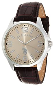 U.S. Polo Assn. Classic Men's USC50006 Oversized Gold Dial Leather Strap Watch