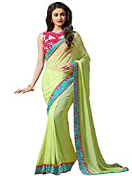 Pragati fashion Hub Green Faux Georgette Saree