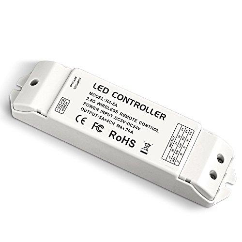 Alightings 2.4G Wireless Remote receiving Controller RF Constant Voltage Receiver DC 5V 12V 24V 20A for Single Color RGB CW/WW RGBW RGBWW LED Strip Tape Lights (R4-5A CV Receiver)