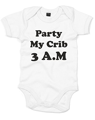Party At My Crib, 3Am!, Printed Baby Grow - White/Black 0-3 Months front-671018