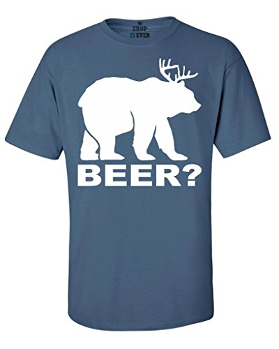 Shop4Ever Bear? Deer? Beer? T-shirt Funny Shirts Medium Indigo Blue0 (Will Run For Beer Shirt compare prices)